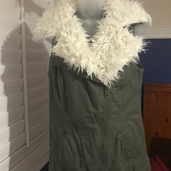 Mossimo Supply Co. Jackets & Blazers - Faux Fur Army Green Vest